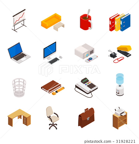 isometric of icons on a theme of office equipment 31928221