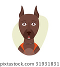 Cartoon cute doberman dog. Isolated objects on 31931831