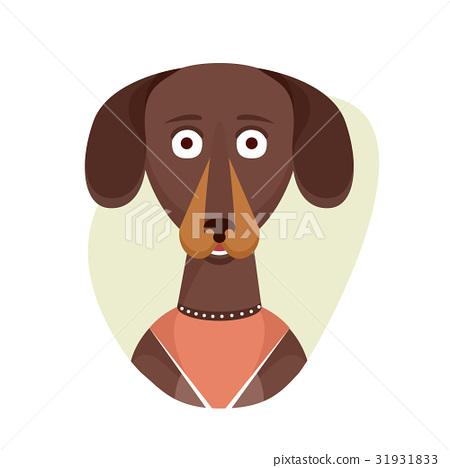 Cartoon cute dachshund dog. Isolated objects on 31931833