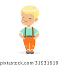 Sweet smilng little blonde boy standing colorful 31931919