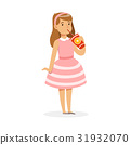 Cute girl in pink dress drinking a fresh juice 31932070