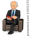 3D Psychologist sitting on a sofa working 31932375