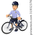 3D Police in shorts with his bike 31932376