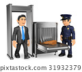 3D Businessman at airport police check 31932379