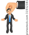 3D Businessman hanging from a giant hand 31932381