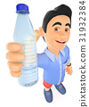 3D Young man in shorts with a bottle of water 31932384