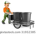 3D Street sweeper working with his garbage trolley 31932385
