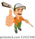 3D Street sweeper with thumb up 31932388
