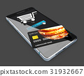 Smartphone with credit card and metallic cart.  31932667