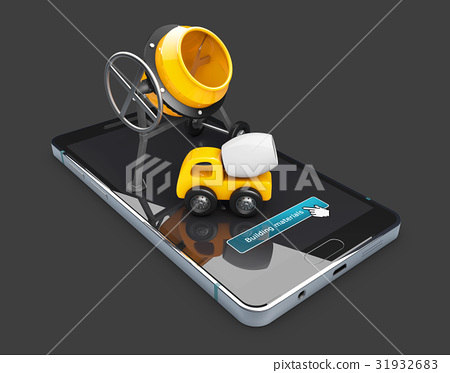 concrete mixer and mixer truck on phone screen 31932683
