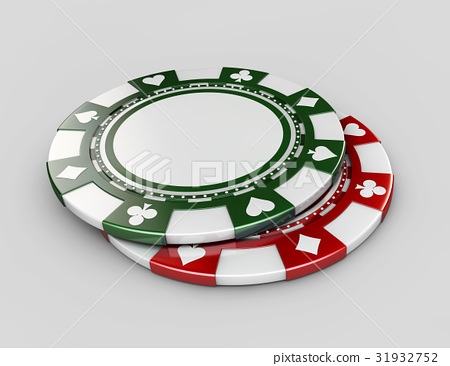Background with Casino chips, isolated white 31932752