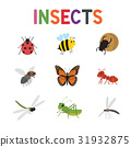 Funny insects, cute cartoon bugs vector set 31932875