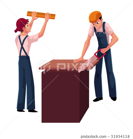 Two construction workers, builders - one measuring 31934118