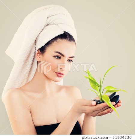 Spa Portrait of Young Woman with White Bath Towel 31934230