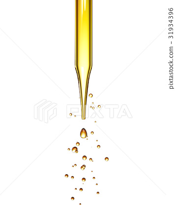 transparent glass pipette with a Golden liquid 31934396