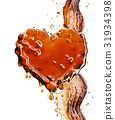 Heart from cola splash with bubbles isolated on 31934398