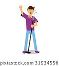 Young man singing with microphone cartoon 31934556