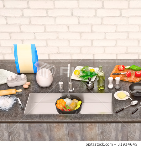 Kitchen, table, with, ingredients, and, utensils 31934645