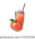 Grapefruit, whole and piece, glass of squeezed 31934789