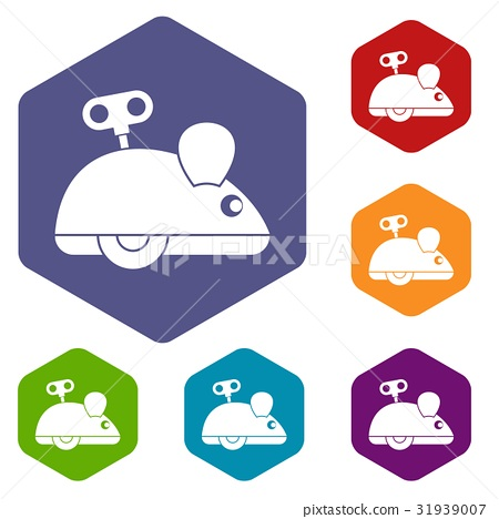 Clockwork mouse icons set hexagon 31939007