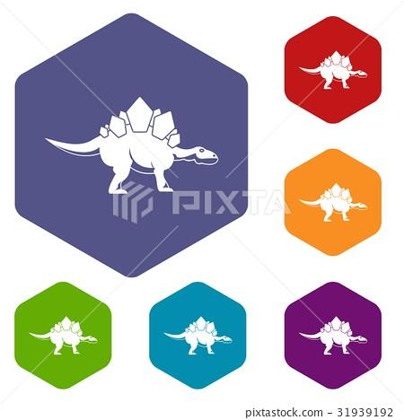Stegosaurus dinosaur icons set hexagon 31939192