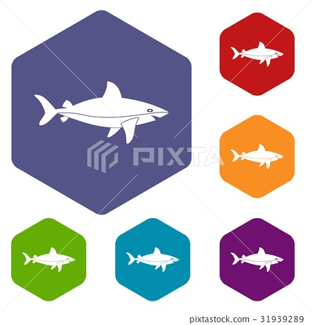 Shark fish icons set hexagon 31939289