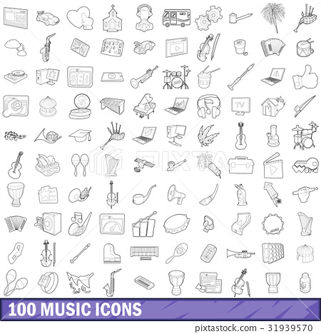100 music icons set, outline style 31939570