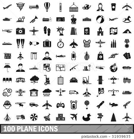 100 plane icons set, simple style 31939635
