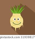 Fresh smiling turnip icon, flat style 31939817