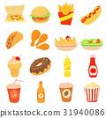 Fast food icons set, cartoon style 31940086