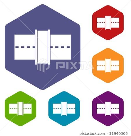 Road icons set hexagon 31940306