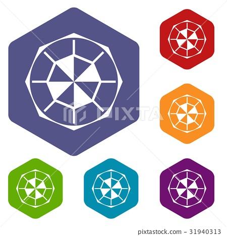 Diamond gemstone icons set hexagon 31940313