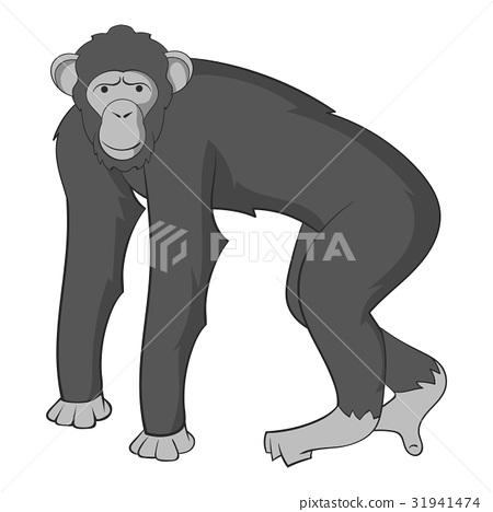 Chimpanzee icon monochrome 31941474