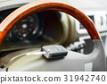 Key on the steering wheel of the car with shallow 31942740
