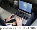 Hands Laptop Chat Conversation Bubble Graphic 31942802