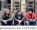 Adult Men Talk Sit Together Friends 31942863