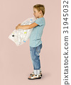 Ecology little boy holding bag of plastic bottle for recycle 31945032