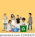Diverse Group Of Kids Recycling Garbage 31945425