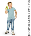 Caucasian Ethnicity Boy Launching Paper Plane 31945496
