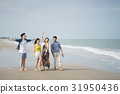 Two men and two women are smiling and relaxing on the beach. 31950436