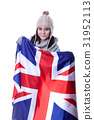 Happy woman holding British flag. isolated on 31952113