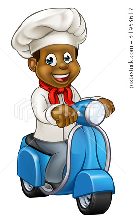 Cartoon Black Chef Delivery Moped 31953617