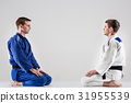 The two judokas fighters fighting men 31955539