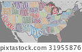 Silhouette of the map of USA hand-written names 31955876