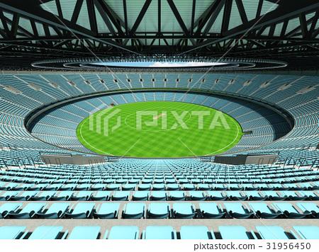 Beautiful new cricket stadium with sky blue seats 31956450