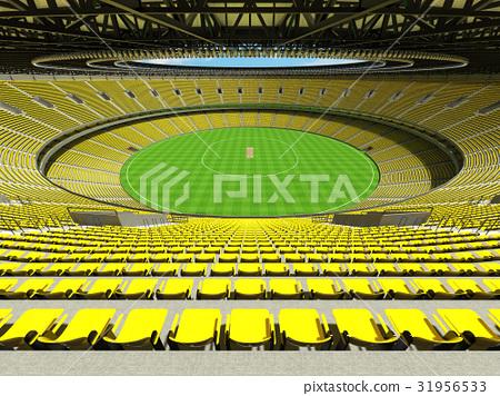 Beautiful modern cricket stadium with yellow seats 31956533