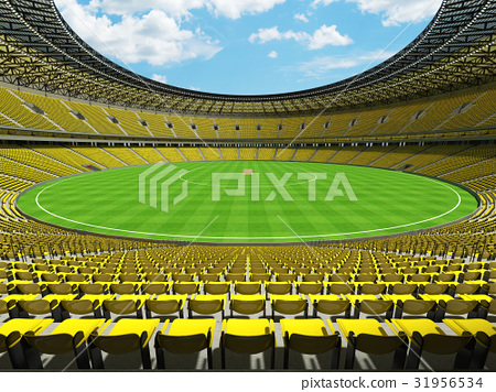 Beautiful modern cricket stadium with yellow seats 31956534