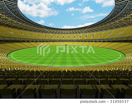 Beautiful modern cricket stadium with yellow seats 31956537