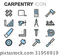 Vector flat line carpentry icons set 31956919