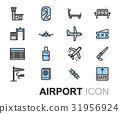 Vector flat line airport icons set 31956924